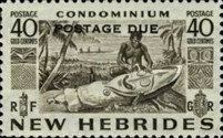 """[New Hebrides Postage Stamps of 1953 - English Version Overprinted """"POSTAGE DUE"""", type F3]"""