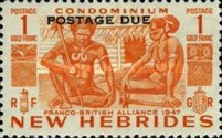 """[New Hebrides Postage Stamps of 1953 - English Version Overprinted """"POSTAGE DUE"""", type F4]"""