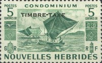"""[New Hebrides Postage Stamps of 1953 - French Version Overprinted """"TIMBRE TAXE"""", type G]"""