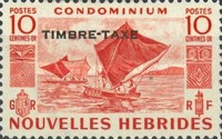 """[New Hebrides Postage Stamps of 1953 - French Version Overprinted """"TIMBRE TAXE"""", type G1]"""
