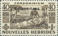 """[New Hebrides Postage Stamps of 1953 - French Version Overprinted """"TIMBRE TAXE"""", type G3]"""