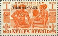 """[New Hebrides Postage Stamps of 1953 - French Version Overprinted """"TIMBRE TAXE"""", type G4]"""