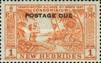"""[New Hebrides Postage Stamps of 1957 - English Version Overprinted """"POSTAGE DUE"""", type H4]"""