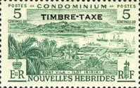 """[New Hebrides Postage Stamps of 1957 - French Version Overprinted """"TIMBRE TAXE"""", type I]"""