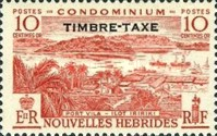 """[New Hebrides Postage Stamps of 1957 - French Version Overprinted """"TIMBRE TAXE"""", type I1]"""