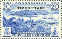 """[New Hebrides Postage Stamps of 1957 - French Version Overprinted """"TIMBRE TAXE"""", type I2]"""