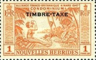 """[New Hebrides Postage Stamps of 1957 - French Version Overprinted """"TIMBRE TAXE"""", type I4]"""