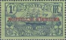 "[French Postage Stamps Overprinted ""NOUVELLES - HEBRIDES - CONDOMINIUM"", type C4]"