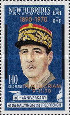 """[Death of General Charles de Gaulle - Issues of 1970 Overprinted """"1890-1970 IN MEMORIAM 9-11-70"""" - English Version, type ED]"""