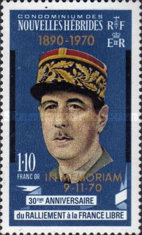 """[Death of General Charles de Gaulle - Issues of 1970 Overprinted """"1890-1970 IN MEMORIAM 9-11-70"""" - French Version, type ED1]"""