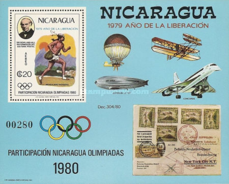 [Airmail - Year of Liberation 1979, The 100th Anniversary fo the Death of Sir Rowland Hill, and Nicaragua's Participation in Olympic Games 1980, type ]