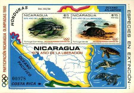 [Airmail - Year of Liberation 1979 and Nicaragua's Participation in Olympic Games 1980, type ]