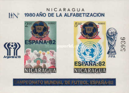 [Airmail - Literacy Year, Football World Cup - Argentina 1978 and Spain 1982 - Overprinted