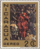 [Airmail - Pope Paul's Visit to Bogota - Previously Issued Stamps Overprinted