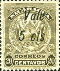 """[Coat of Arms Stamps of 1909-1910 Overprinted & Surcharged - Long Distance Between """"Vale"""" and """"2 cts."""", type AJ54]"""