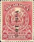 [Coat of Arms Stamps of 1907 Stamps Surcharged Downwards, type AL9]