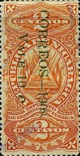 "[Revenue Stamps Overprinted ""CORREOS - 1908"" Downwards & Surcharged, type AR3]"