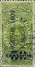 "[Revenue Stamps Overprinted ""CORREOS - 1909"" Upwards & Surcharged, type AS]"