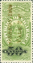 "[Revenue Stamps Overprinted ""CORREOS - 1909"" Upwards & Surcharged, type AS1]"