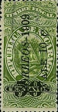 "[Revenue Stamps Overprinted ""CORREOS - 1909"" Upwards & Surcharged, type AS4]"