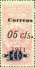 [Revenue Stamps Surcharged in Black, type AW1]