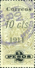 [Revenue Stamps Surcharged in Black, type AW3]