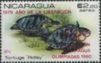 [Airmail - Year of Liberation 1979 and Nicaragua's Participation in Olympic Games 1980 - Protected Sea Turtles, type AZM]