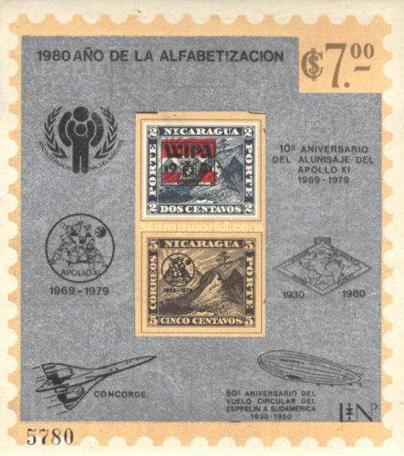 [Airmail - Literacy Year, International Year of the Child, The First Manned Space Flight by Yuri Gagarin, The 10th Year Anniversary of the First Manned Lunar Landing, 50th Anniversary of the South America Ride on the Airship