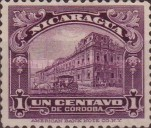 [Government Building in Managua and León Cathedral Stamps of 1914 in New Colors, type CG1]