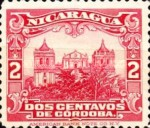 [Government Building in Managua and León Cathedral Stamps of 1914 in New Colors, type CH2]