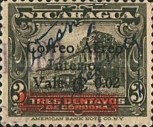 [Airmail - Government Building in Managua and León Cathedral Stamps of 1933 Surcharged and Overprinted