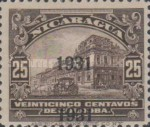 [Government Building in Managua and León Cathedral Stamps of 1922, 1929 and 1930 Overprinted