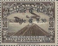 [Airmail - Airplanes over Momotombo Stamps of 1929 Surcharged