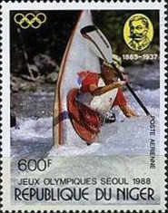 [Olympic Games - Seoul, South Korea, and the 125th Anniversary of the Birth of Baron Pierre de Coubertin, 1863-1937, Typ AJU]