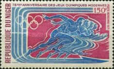 [Airmail - The 75th Anniversary of Modern Olympic Games, type JL]