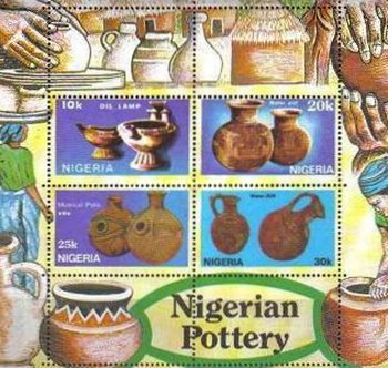[Nigerian Pottery - With Yellow Edge on Stamps, type ]