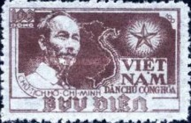 [Ho Chi Minh & Map of Vietnam - Thin White Paper, Typ C2]