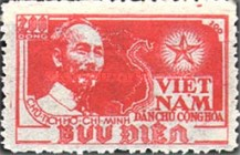 [Ho Chi Minh & Map of Vietnam - Thin White Paper, Typ C6]