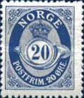 [Posthorn - NORGE in antiqua type - New engravement, Typ N6]