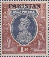 """[India Postage Stamps Overprinted """"PAKISTAN"""" in Large, type B1]"""