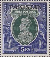 """[India Postage Stamps Overprinted """"PAKISTAN"""" in Large, type B3]"""