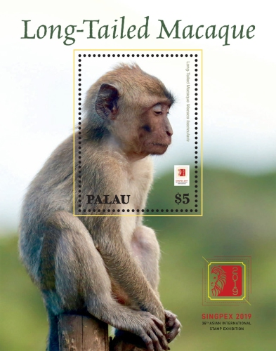 [Long-Tailed Macaque - International Stmap Exhibition SINGPEX 2019, Singapore, type ]