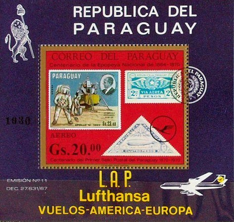 [Airmail - The 100th Anniversary of First Paraguayan Stamps (1970) - Opening of the Lufthansa Flight Traffic to Asuncion, Typ ]