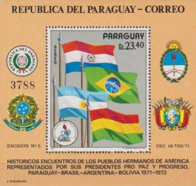 [Airmail - Visit of the Presidents of Argentina, Bolivia and Brazil in Paraguay, type ]