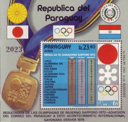 [Airmail - Medal Tally of Winter Olympic Games - Sapporo, Japan, тип ]