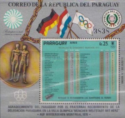 [Airmail - Medal Tally of Summer Olympic Games - Munich, Germany, Typ ]