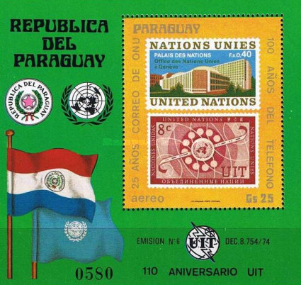 [Airmail - The 25th Anniversary of United Nations Postal Administration and the 100th Anniversary of the Telephone, Typ ]
