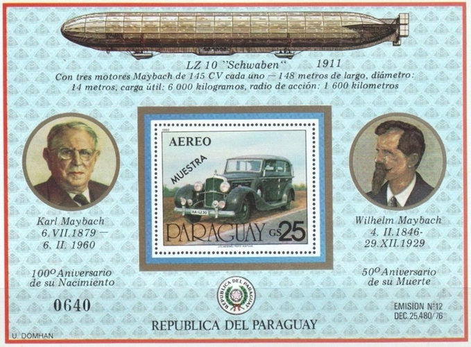 [Airmail - The 100th Anniversary of the Birth of Carl Maybach, 1901-1995, and the 50th Anniversary of the Death of Wilhelm Maybach, 1846-1929, type ]