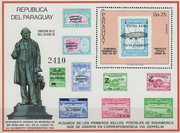 [Airmail - The 100th Anniversary of the Death of Rowland Hill, 1795-1879 - Paraguay Stamps, type ]