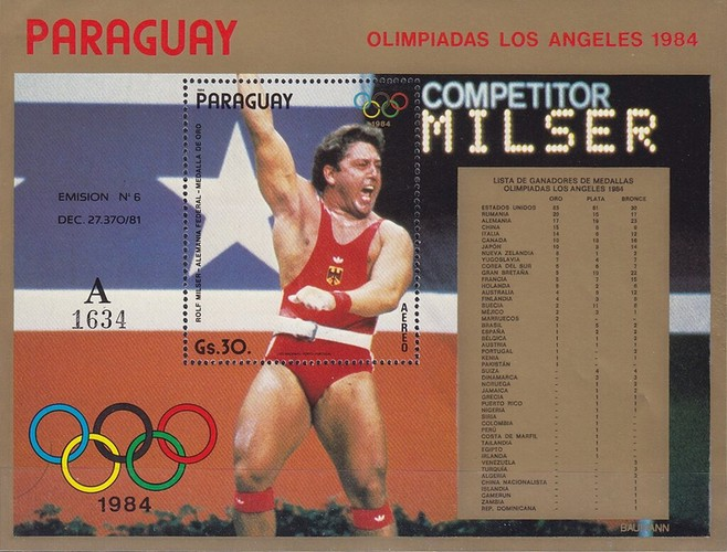 [Airmail - Winners of the Summer Olympic Games - Los Angeles, USA 1984, Typ ]